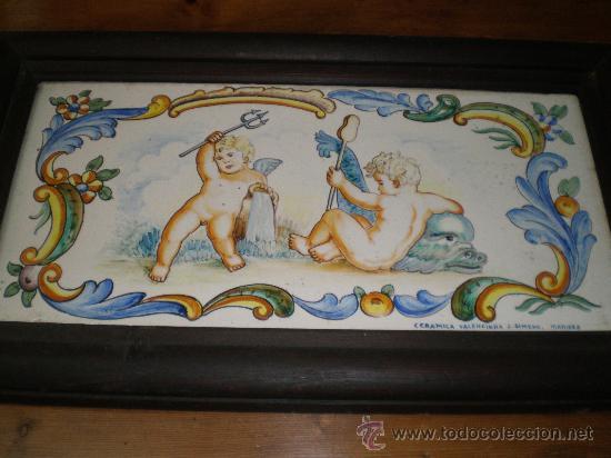 AZULEJO DE MANISES ENMARCADO (Antigüedades - Porcelanas y Cerámicas - Manises)