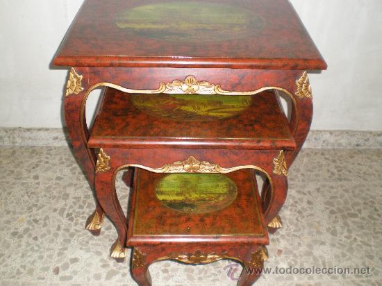 MESA NIDO POLICROMADO (Antigüedades - Muebles Antiguos - Mesas Antiguas)