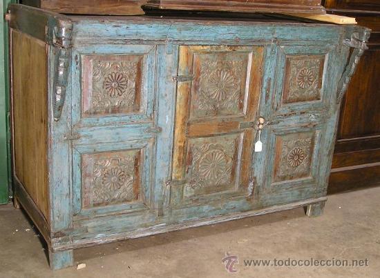 Mueble indio bajo pintado y tallado comprar c modas Muebles antiguos pintados a mano