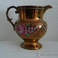 Antigüedades: ANTIGUA JARRA BRISTOL CON REFLEJOS GRECA FLORES ROSAS. Lote 26774324