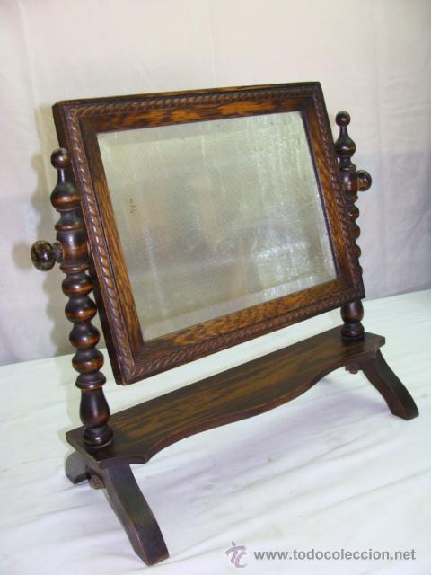 antiguo espejo de tocador en madera para poner sobre comoda con espejo cuadrado biselado