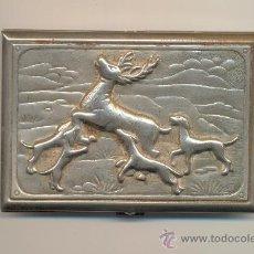 Antigüedades: ANTIGUO TARJETERO ESCENA DE CAZA A CLASIFICAR MEDIDAS: 9'5 POR 6'5 CTMS.. Lote 25968690