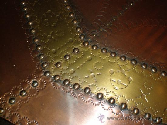 Antigüedades: mesa de centro baja con sobre de cobre - Foto 2 - 25971125