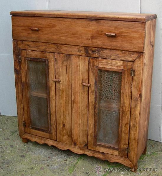 muebles rusticos en madera mueble de madera aparador con cajon y dos puert comprar vitrinas antiguas en todocoleccion