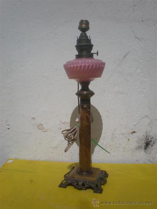 LAMPARA CANDIL DE BRONCE Y ALABASTRO (Antigüedades - Iluminación - Lámparas Antiguas)