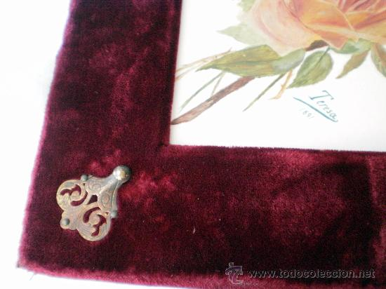 Antigüedades: Baldosa firmada y pintada a mano S XIX: Rosas - Foto 4 - 26047371