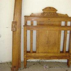 Antigüedades: CAMA INDIVIDUAL DE MADERA DE CASTAÑO. Lote 26063241