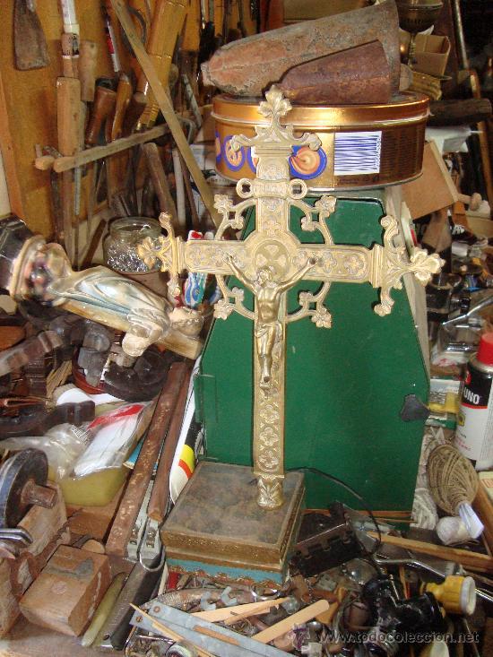 CRUZ DE PROCESIÓN MEDIDAS: 35 POR 27 CTMS. SIGLO XIX (Antigüedades - Religiosas - Crucifijos Antiguos)