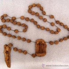 Antigüedades: GIGANTESCO ROSARIO O CADENA RELIGIOSA EN PASTA, MUY ORIGINAL!!. Lote 26173789