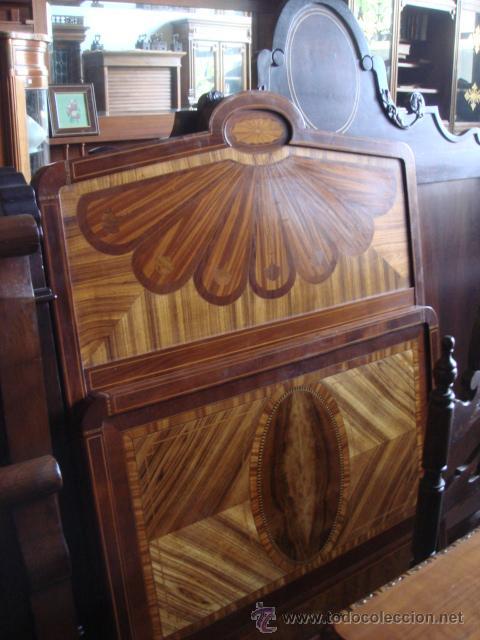 Cama antigua en madera de caoba con marqueter a comprar - Camas de madera antiguas ...
