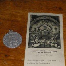 Antigüedades: MEDALLA Y ESTAMPA DE LA VIRGEN DE LA CABEZA. ANDUJAR JAEN.. Lote 76712294