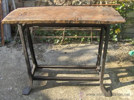 antigua mesa de fabrica - hierro - tablero grue - Comprar Mesas ...