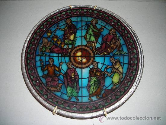 (M) PLATA DE CRISTAL PRENSADO ESCENA RELIGIOSA - 27 CM, (Antigüedades - Cristal y Vidrio - Otros)