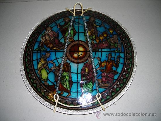 Antigüedades: (M) PLATA DE CRISTAL PRENSADO ESCENA RELIGIOSA - 27 CM, - Foto 2 - 27613717
