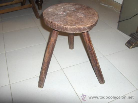 Banqueta artesanal de madera antigua redond comprar for Banquetas de madera