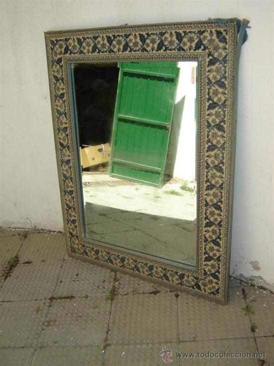 espejo en marco de madera y tapizado - Comprar Espejos Antiguos en ...
