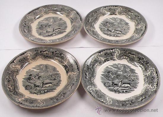 4 PLATOS DE CARTAGENA, TAMAÑO: 22 CM DE DIÁMETRO, . (Antigüedades - Porcelanas y Cerámicas - Cartagena)