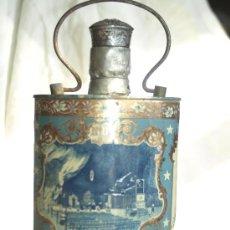 Antigüedades: ANTIGUA BOTELLA DE CRISTAL FORRADA DE CHAPA PINTADA DE LA VIRGEN DE LOURDES. Lote 26394993
