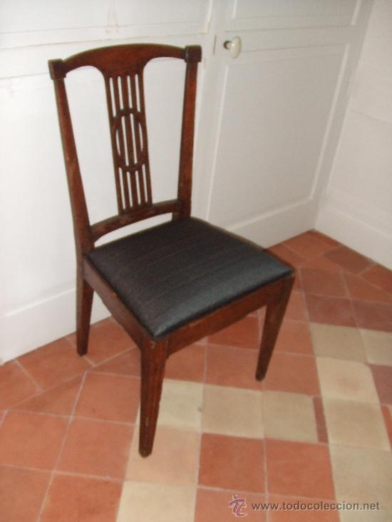 SILLA ROBLE ASIENTO TAPIZADO CRIN CABALLO (Antigüedades - Muebles Antiguos - Sillas Antiguas)