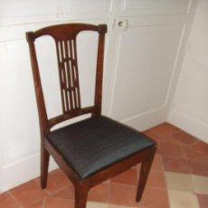 Antigüedades - silla roble asiento tapizado crin caballo - 26508797