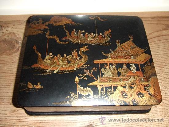 CAJA LACA CHINA DECORACIÓN EN ORO (Antigüedades - Varios)
