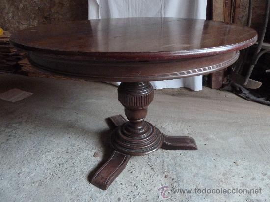 Mesa redonda extensible de un pie comprar mesas antiguas for Mesas antiguas de madera