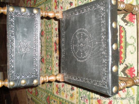 SILLA TORNEADA CON CUERO NEGRO (Antigüedades - Muebles Antiguos - Sillas Antiguas)
