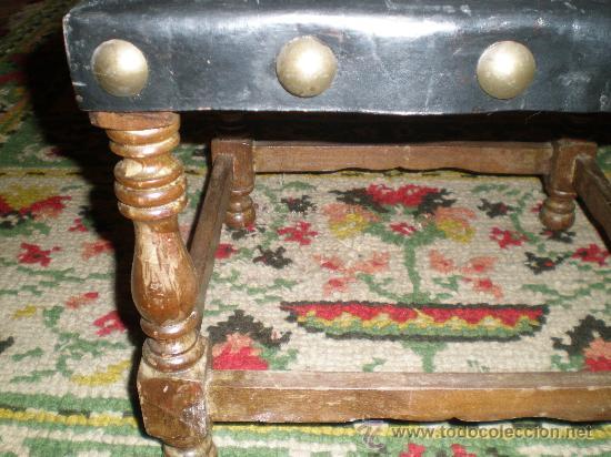 Antigüedades: silla torneada con cuero negro - Foto 5 - 26728309