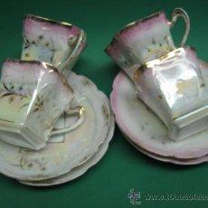 Antigüedades: PRECIOSAS TAZAS DE CAFE EN REFLEJO ROSA, ART NOUVEAU FF.SG.XIX. 1880 -1910. DETALLES EN OROS. Lote 26797147