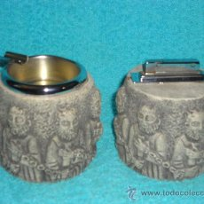 Antigüedades: CENICERO Y MECHERO SOBREMESA. PIEDRA. PPOS. S. XX. Lote 26853429
