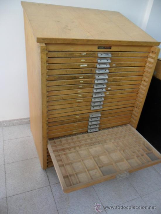 Mueble fichero con cajonera para letras de impr comprar - Mueble antiguo segunda mano ...
