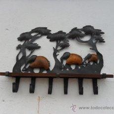 Antigüedades - repiza con perchero de laton y madera de teka - 26867659