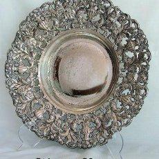 Antigüedades: FUENTE DE ALPACA PLATEADA CALADA. Lote 27004276