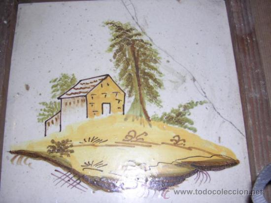Antigüedades: AZULEJO DE MANISES ANTIGUO S. XIX SERIE PAISAJES, (ROTURAS VER FOTO) ORIGINAL DE LA EPOCA NO REPRODU - Foto 2 - 27044077