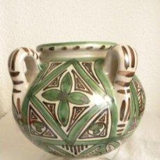 Antigüedades: JARRÓN OLLA U ORZA CERAMICA ARAGÓN (TERUEL) FIRMADA PUNTER CON SIGUIENDO MODELO MUDEJAR. Lote 27067754
