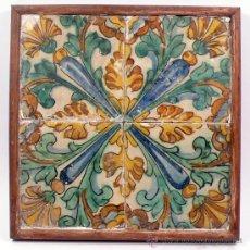 Antiquitäten - 4 azulejos s.XVII enmarcados, 13 x 13 cm cada pieza. - 27143964