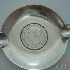 Antigüedades: CENICERO DE PLATA CON MONEDAS DE ALFONSO XII Y ALFONSO XIII. Lote 27144940