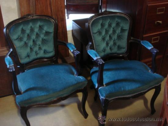 Pareja de sillones a os 50 con tapizado de la comprar - Sillones antiguos tapizados ...