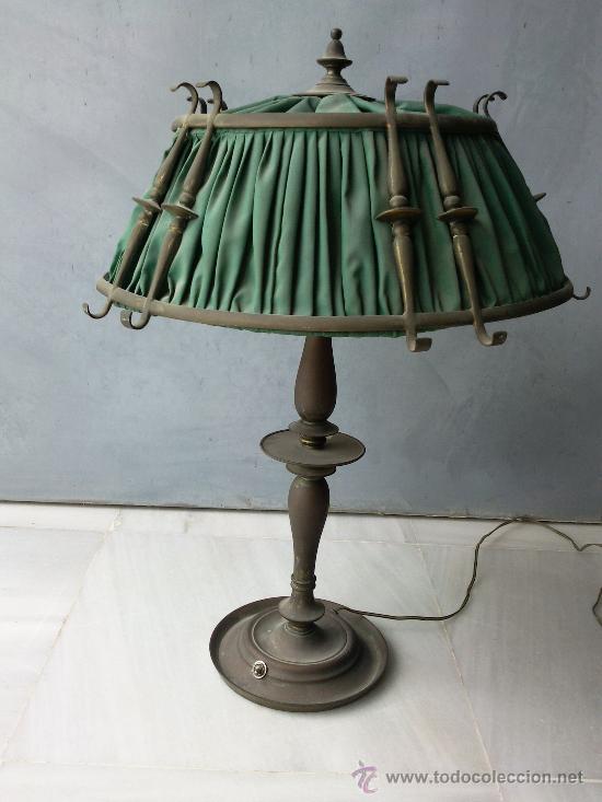 Antigua l mpara de oficina en bronce con pantal comprar for Antiguedades de oficina