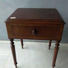Antigüedades: ANTIGUA MESITA DE CAOBA CON CAJON SIGLO XIX RESTAURADA.. Lote 27166835