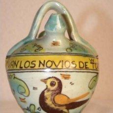 Antigüedades: BOTIJO CERÁMICA SAN JOSÉ PUENTE ARZOBISPO PAJARO LEYENDA VIVAN LOS NOVIOS DE TORRES. Lote 27288075