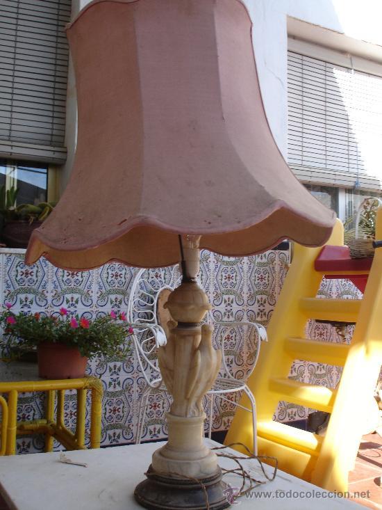 Antigüedades: MUY DECORATIVA LAMPARA VINTAGE. CUERPO DE MARMOL Veneciano O ALABASTRO 1920-1940 - Foto 2 - 27298421