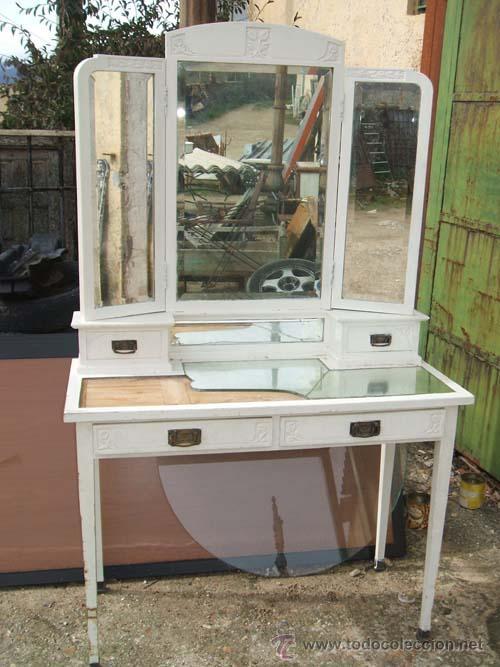 Precioso tocador modernista lacado en blanco comprar - Muebles restaurados online ...