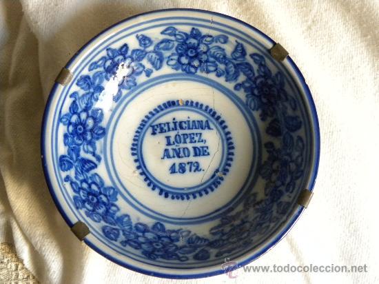 Antigüedades: Plato cerámica Talavera decoración con ramos de flores.FELICIANA LOPEZ AÑO 1872 - Foto 8 - 27319711