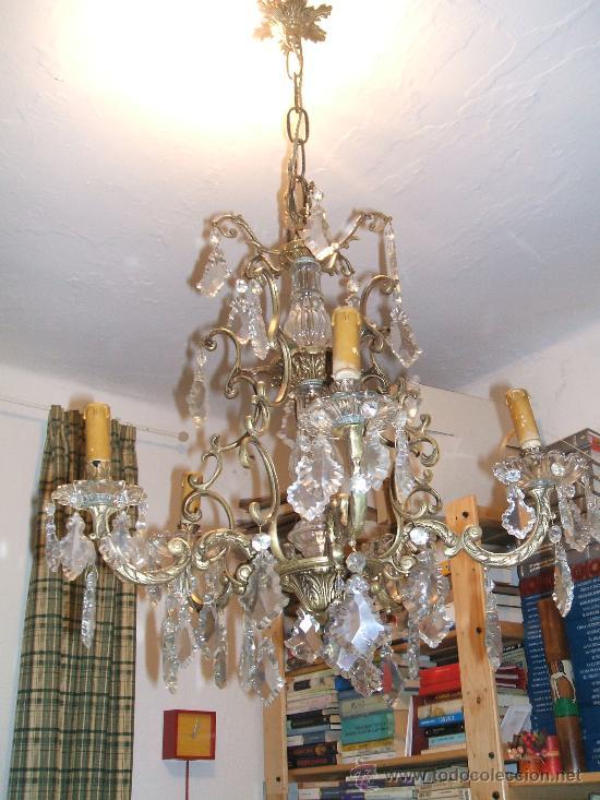 Lampara antigua de bronce y cristal comprar l mparas - Lamparas de cristal antiguas ...