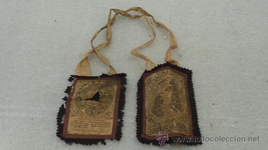 ESCAPULARIO DE S.XIX DE TAMAÑO GRANDE. SAN FRANCISCO DE ASIS. (Antigüedades - Religiosas - Escapularios Antiguos)