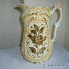 Antigüedades: ANTIGUA JARRA PORCELANA INGLESA VICTORIANA CON FLOR DORADA. Lote 27339731