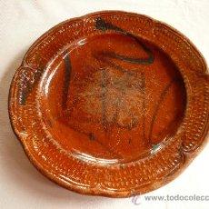 Antigüedades: PLATO CERAMICA VIDRIADA CATALAN DE 30 CM. DE MATARO, DEL SIGLO XIX. Lote 27360831