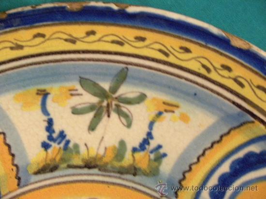 Antigüedades: Plato ceramica Triana ( Sevilla) con casa y pájaros princ,S.XX - Foto 3 - 27384582