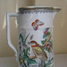 Antigüedades: ANTIGUA JARRA DE PORCELANA INGLESA CON PAJARO Y LUSTRE. Lote 27402540